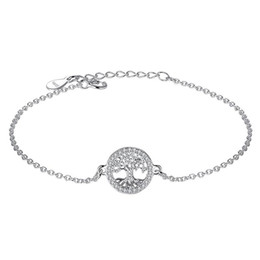 Wholesale Tree Life Family Gifts - BELAWANG Exquisite 925 Sterling Silver Family Tree of Life Bracelets Fashion Jewelry with Cubic Zirconia For women Lover Christmas Day Gift