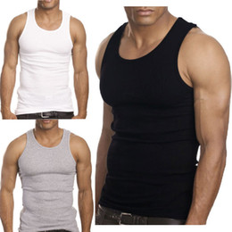 Wholesale Ribbed Cotton Tank - Wholesale- 2015 Muscle Men Top Quality 100 Premium Cotton A Shirt Wife Beater Ribbed Tank Top