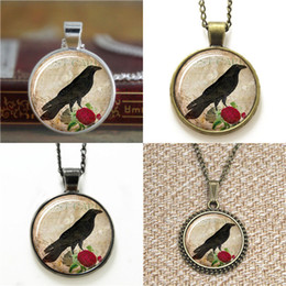 Wholesale glass cabochon earrings - 10pcs Raven and Rose Pendant Bird Jewelry Raven 17 Glass Photo Cabochon Necklace keyring bookmark cufflink earring bracelet