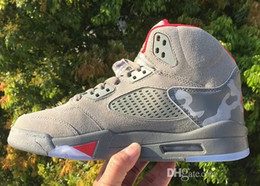Wholesale Shoe Air Camo - (With Box) 2017 air retro 5 5s camo men Basketball Shoes camouflage trophy room retro 5s Grey Red sports shoes Sneakers eur 41-47