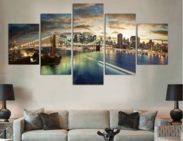 Wholesale Canvas Art Shop - Free shopping 5 Panels high quality Home Decor Wall Art Painting of New York at night Artwork Custom Sale--Modern City Pictures