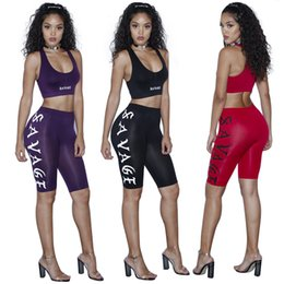 Wholesale Tight Waisted Women - 2016 women fashion clothes Suit-dress Black Letter Printing High Waist Tight joggers Trousers Suit womens sets