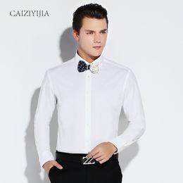 Wholesale Boys Designer Shirts - Wholesale- Brand Long Sleeve Men Shirt White Dress Shirt Male Boys Cotton Casual Slim Fit Formal Business Designer High Quality Plus 4XL