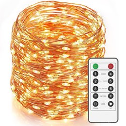 Wholesale Led Long Wire - 16ft 66led 164Ft 500 LEDs Dimmable LED String Lights,Long Outdoor Waterproof Cooper Wire String Lights With Remote,Warm White Indoor light