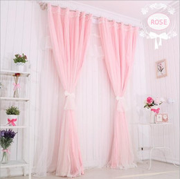 Wholesale Kitchen Rose - Wrap knit pink pure color double layer rose lace blackout curtain for living room children's bedroom kids girl 1pcs price include processing