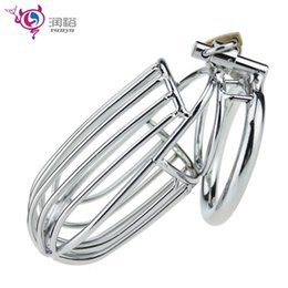 Wholesale Types Male Chastity Devices - Sex shop new railing type design male chastity belt device big sex cock cage cock ring sex toys bdsm bondage harness adult games for men.