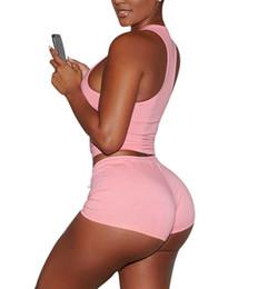 Wholesale Large Size Tracksuits - Plus Size S-XXL Women Sport Suit Set Solid Cotton Crop Top Womens Tracksuit Set Summer Short Tracksuits Slim Yoga Running Large Sportwear
