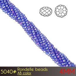 Wholesale 4mm Beads Free Shipping - Free Shipping Crystal Glass Tyre DIY Jewelry Excellent Quality Rondelle Beads 4mm AB colors A5040 150pcs set