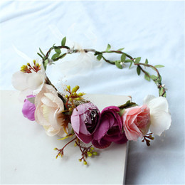 Wholesale Band Ornament - Bride Wreath Ornaments Kids Party Floral Garlands Bride Headdress Flower Hair Band Wedding Jewelry Hair Accessories For Women