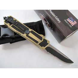 Wholesale Microtech Pocket Knife Serrated - Microtech Scarab Knife Camping Gear Survival Knife Gold Handle Tactical Knives with Pocket Clip Single Edge Drop Point Half Serrated
