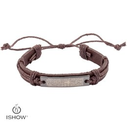Wholesale Wholesale For Bibles - Personality Bracelets brown PU Leather Braided Cross Leather Wristband Vintage PUNK Bible Charm Bracelets For Men QNW1027-5