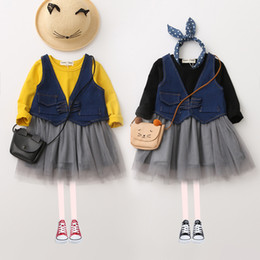 Wholesale Denim Tulle - Autumn Baby Girls Lace tutu Dresses with Denim Waistcoats Fashion Dress Girl Princess Tulle Dress 2017 Babies Clothing