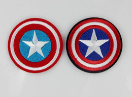 Wholesale Captain America Badge - Captain America iron on patches movie Animal cartoo fabric Applique badge clothing accessori DIY applique biker vest embroidered wholesale