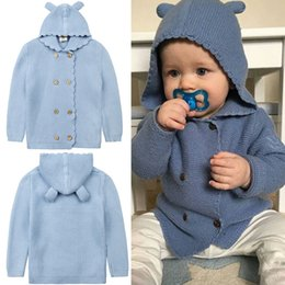 Wholesale Bearing Manual - Baby Hooded Cardigan Cartoon Bear Ear Solid Color Knitted Sweater Boys Girls Coats Autumn Winter Kids Clothes Free DHL 309