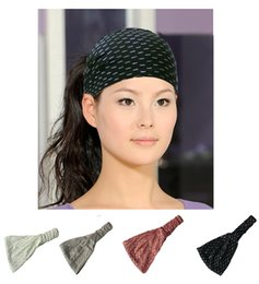 Wholesale Glitter Headbands For Women - Glitter Gold Printing Cotton Headbands Bandana Turban Head Wrap Elastic For Women Girl Hair Bands Hair Accessories Bandage
