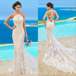 Wholesale Halter Trumpet Wedding Dresses - Custom Made Kitty Chen Wedding Dresses Lace Appliqued Halter Sleeveless Beach Sweep Train Mermaid Ball Gown For Bridal Gowns 2017