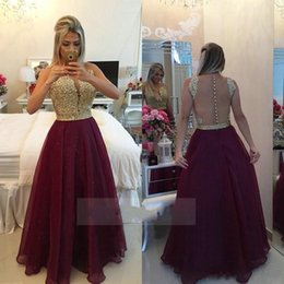 Wholesale Red Evenning Dress - Long See Through Back Burgundy Prom Dresses Organza Gold Champagne Ball Gown Lace Applique Formal Evenning Gowns 2017 robe de soiree long