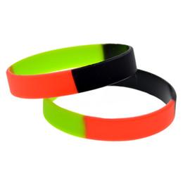 Wholesale Silicone Bracelet Plain - Wholesale Shipping 100PCS Lot Fashion Silicone Wristband Segemented Multicolor Black Green and Red Plain Band Bracelet