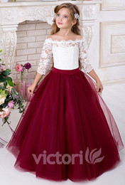 Wholesale Christmas Balls Photos - Lace 2016 Half Sleeves Tulle Flower Girl Dresses Vintage Flower Girl Wedding Dresses Kids Pageant Dresses