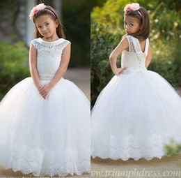 Wholesale Dress Ups Kids - 2018 Princess Ball Gown Lace Pageant Gowns for Kids Ruffles Organza Capped Sleeves Floor Length Lace-up First Communion Flower Girls Dress
