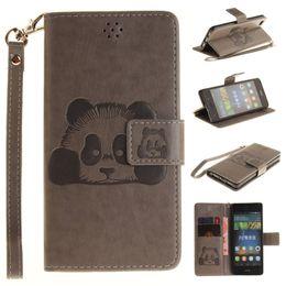Carteras panda online-Para Huawei P8 Lite caso clásico Retro Panda Wallet cubierta Flip Stand funda de cuero de la PU cubierta del teléfono para Huawei P8Lite caso por mayor