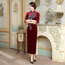 Wholesale Cheongsam Long Sleeve Red - 2017 New high quality plus size 3 4 long sleeve 100%velvet embroidery flower purple blue green wine red long cheongsam wedding dress qipao