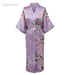 Wholesale Traditional Sexy Chinese Women - Wholesale- Light Purple Print Flower Women Robe Gown Chinese Traditional Bathrobe Sleepwear Novelty Kimono Dress S M L XL XXL XXXL WR056