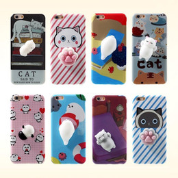 Wholesale Cute Soft Phone Cases - Fashion Squishy Funny Cute Cat Cartoon Soft TPU Phone Case Back Cover For Iphone 6s 7 6 plus 5S SE