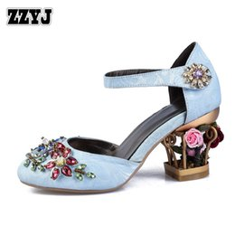 Wholesale Two Piece Dresses Diamond - ZZYJ diamond beaded women's large size summer high heels brand design hollow flowers heels ladies two-piece high-heeled sandals C8328