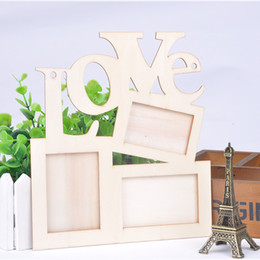 Wholesale Love Picture Frames - New Hollow Love Wooden Photo Frame White Base DIY Picture Frame Art Decor