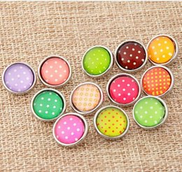 Wholesale Pearl Drop Charm - 50pcs lot 12MM glass charm many design flower cartoon dot pearl noosa button snap button diy jewelry Christmas gift hot sale drop shipping