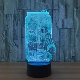 Wholesale Smoke Charge Batteries - 3D Smoking Bottle Illusion Lamp Night Light DC 5V USB Charging AA Battery Wholesale Dropshipping Free Shipping Retail Box