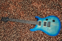 Wholesale Guitar Bird Custom - custom 24 electric guitar 6 string Bird inlay MOP Blue flamed maple guitar mahogany neck color can custom