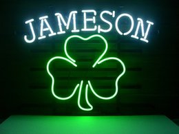 Wholesale Irish Bar Signs - Fashion Handcraft Jameson Irish Whiskey Shamrock Real Glass Beer Bar Pub Display neon sign 19x15!!!Best Offer!