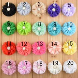 Wholesale Garment Shoes - free shipping 30pcs lot shabby chiffon flowers Rhinestone Pearl Center Flat Back for hair headband Use For Garment Dress Shoes 20color H052