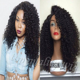 Wholesale Synthetic Lace Front Kinky - 180% Density Synthetic Lace Front Wig Black Kinky Curly Synthetic Fiber Lace Front Heat Resistant Hair Wigs With Baby Hair For Black Women