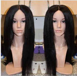 Wholesale Kinky Front - High Yaki straight synthetic wigs natural black Glueless lace front heat resistant yaki kinky straight wigs for black women In Stock