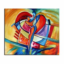 Wholesale Bright Wall Art - hand painted cheap coloring abstract oil painting couple lovers heart art canvas picture bright wall picture for home decor