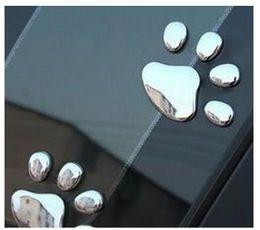 Wholesale Dog Footprint 3d Car Sticker - Car Sticker 3D Dog Bear Footprints Chrome Badge Emblem Car Sticker Decal