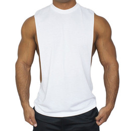 Wholesale Body Building Tanks - man cotton tank top fitness gym clothing sleeveless sportswear pure color body building