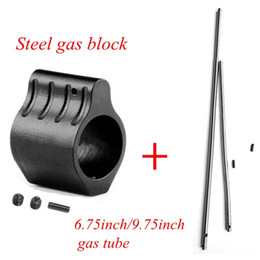 Wholesale Railings Steel - AR15 M44 Steel Low Profile .750 5.56 .223 Micro Rifle Gas Block with Roll Pin and 6.75 9.75 inch Gas tube Ports Controller AR Rail System