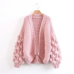 Wholesale Women Thick Cardigan Sweaters - Winter Women's Loose Thick Wool Sweater Batwing Sleeve Knit Cardigan Jacket Coats
