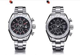Wholesale Custom Logo Watches - Custom Logo Watch Men Business Luxury Automatic Mechanical Chronograph Sports Titanium Waterproof Wristwatch Sapphire Blue Ray Silver Gift