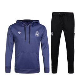 Wholesale Real Madrid Club - 2017 Real Madrid Hooded jacket training suit Soccer Jersey 16 17 Maillot de foot chandal survetement RONALDO tracksuits Club football shirts