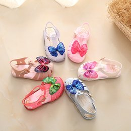 Wholesale Babies Heels - Mini Melissa Jelly Sandals For Baby Girls Kids Double Butterfly Boys Cartoon Shoes Sandalia Infantil Sandals Melissa Menina