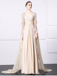 Wholesale Graceful Shawls - 2017 Graceful Square Neck Pleat Empire Champagne Chiffon Long Evening Dress With Long Lace Shawl A Line Floor Length Prom Party Pageant Gown