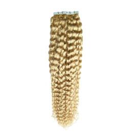 Cheveux bouclés 26 613 en Ligne-Utilisation de cheveux humains 613 Bleach Bleach Double ruban étiré dans les extensions de cheveux humains 40 pcs 100g bande de trame de peau bouclée profonde extensions de cheveux