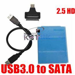 Wholesale Enclosure Housing Case - Wholesale- AK High Quality USB 3.0 to Sata Hard Disk Drive 2.5 inch HDD Enclosure Housing Cover Case 480Mbps with Data Cable