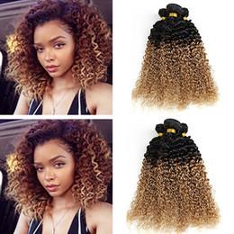 Wholesale Colorful Brazilian Hair - Dark Honey Blonde Hair Colorful 1B 27 Blonde Dark Root Ombre Brazilian Kinky Curly Wave Human Hair Weave Weft Extensions 3 Bundles Lot