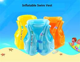 Wholesale Baby Swim Life Jackets - 3 Size Child Safety thick PVC inflatable life jacket swimsuit swim Vest Kids Inflatable Life Vest Baby Swimming Vest Clothing z069